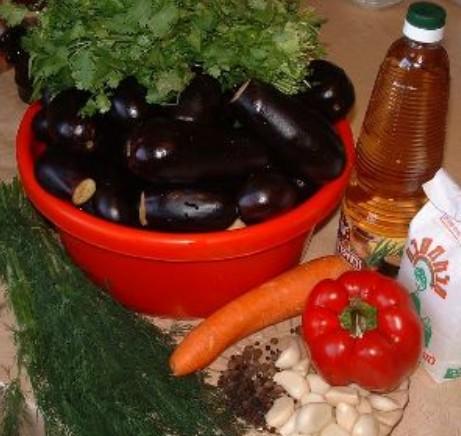 Баклажаны маринованные с чесноком и зеленью ингредиенты